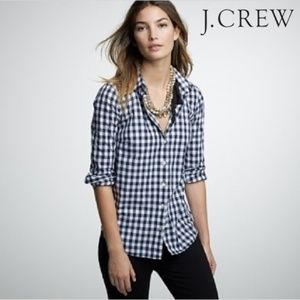 JCREW Navy Gingham Button Down